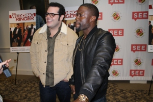 """Josh Gad and Kevin Hart answer questions about their new movie """"The Wedding Ringer"""" November 1,2014. (Lauryn Froneberger/ Pulsefeedz)"""