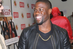 "Kevin Hart laughs at Josh Gad's personal connection to his character ""Doug"" November 1,2014. (Lauryn Froneberger/ Pulsefeedz)"