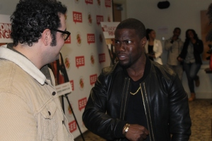 Kevin Hart playfully teases Co-star Josh Gad about his musical talents. November 1,2014. (Lauryn Froneberger/ Pulsefeedz)