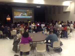 Students await decision to be made on Darren Wilson as the meeting progresses (Jessie Karangu/Pulsefeedz)