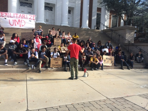 Freshman Julian Ivey encourages protestors to continue to fight against police brutality. November 24, 2014. (Lauryn Froneberger/Pulsefeedz)