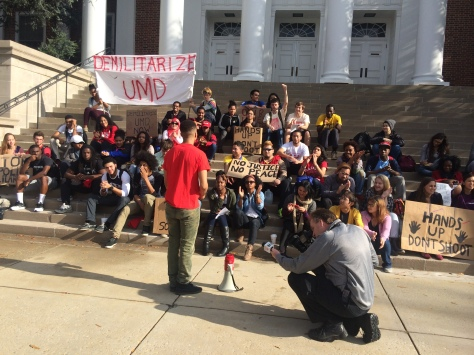 University of Maryland Students assemble to condemn UMPD's usage of military style weapons. November 24, 2014. (Lauryn Froneberger/ Pulsefeedz)