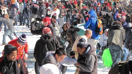 University of Maryland students having a snowball fight on McKeldin Mall.