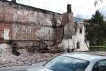 Burned building in West Baltimore.
