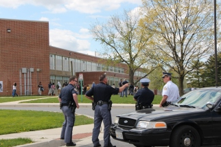 Police standby at a local high school