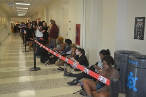 Students wait in line for Davis' speech.