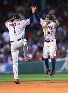 Astros shortstop Carlos Correa (left) and second baseman Jose Altuve. Courtesy of The Houston Chronicle