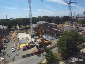 The Edward St. John Learning Center construction site on campus.