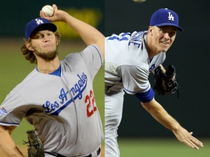 Dodgers pitchers Clayton Kershaw (left) and Zack Greinke. Photo courtesy of Google Images.