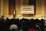Kosi Dunn performing a spoken word piece. Mya Green/Pulsefeedz Nov. 3