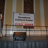 Co-host Chloe Pavlech introducing the next performer. Mya Green/Pulsefeedz Nov. 3
